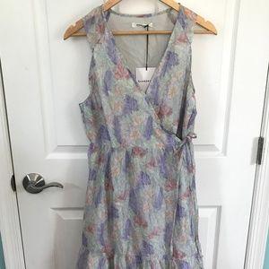 Glamorous watercolor floral midi wrap dress